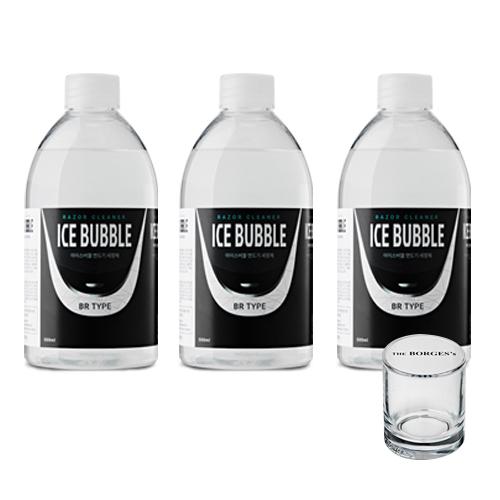 아이스버블 브라운 호환 BR타입 면도기세정액 500ml x 3p + 세척용 유리컵