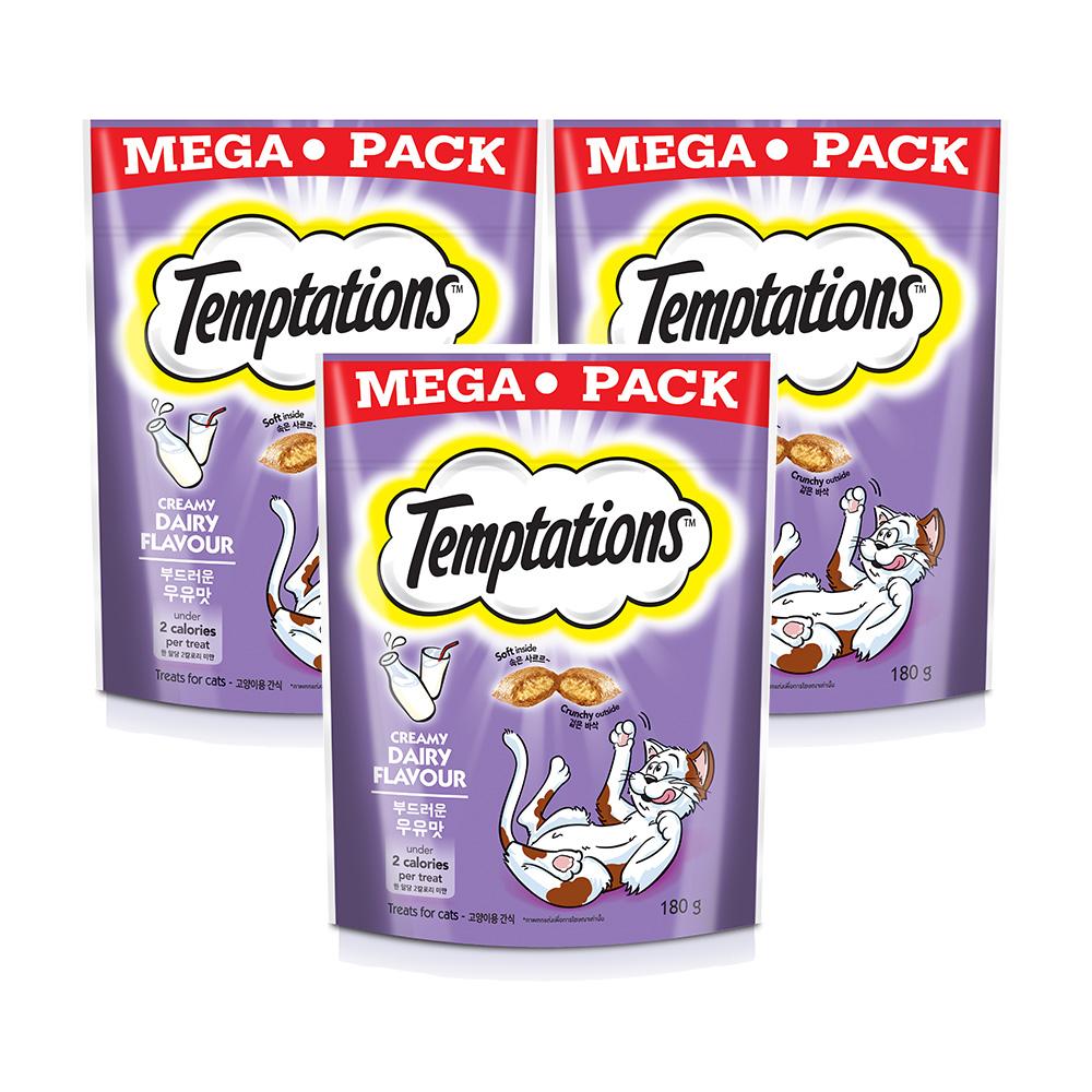 템테이션 고양이 간식, 부드러운 우유맛, 3개