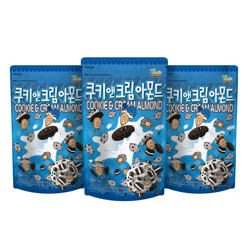탐스팜 쿠키앤크림 아몬드, 190g, 3개