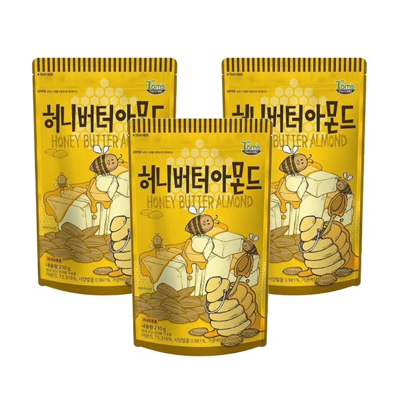 탐스팜 허니버터아몬드, 210g, 3개