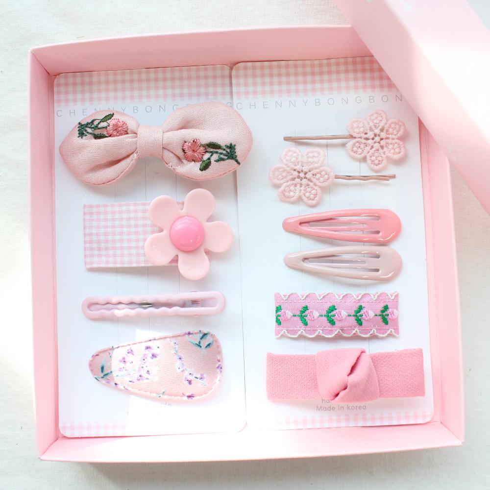 채니봉봉 핑크꽃가득 헤어핀 세트