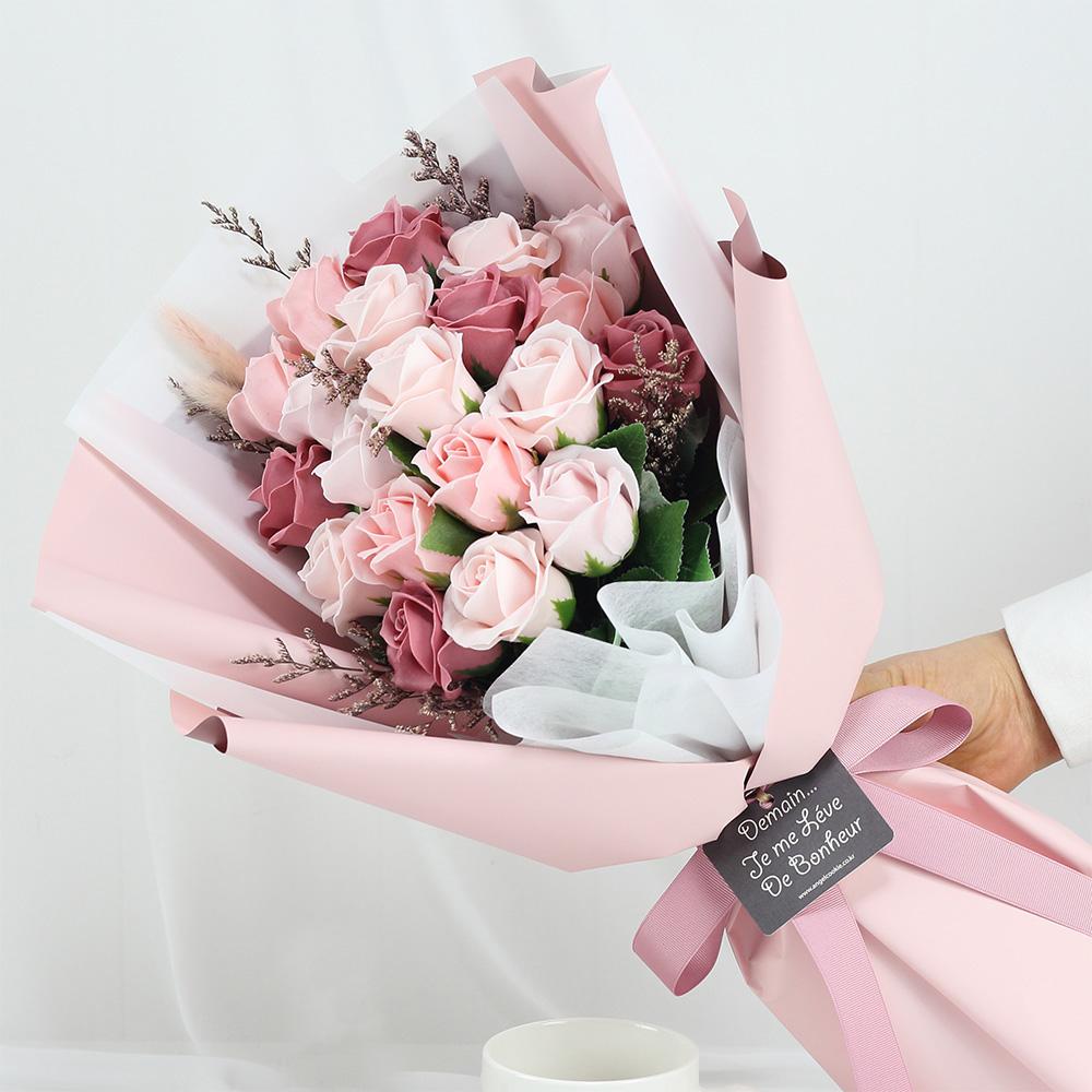 조화 S5 바네사 20송이 비누꽃부케, 핑크