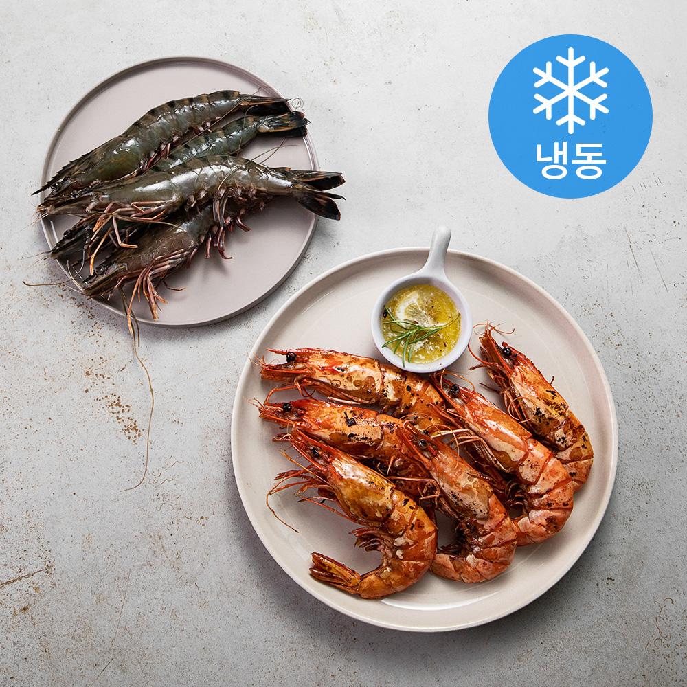 홍다리 얼룩새우(블랙타이거) 8미 (냉동), 500g, 1개
