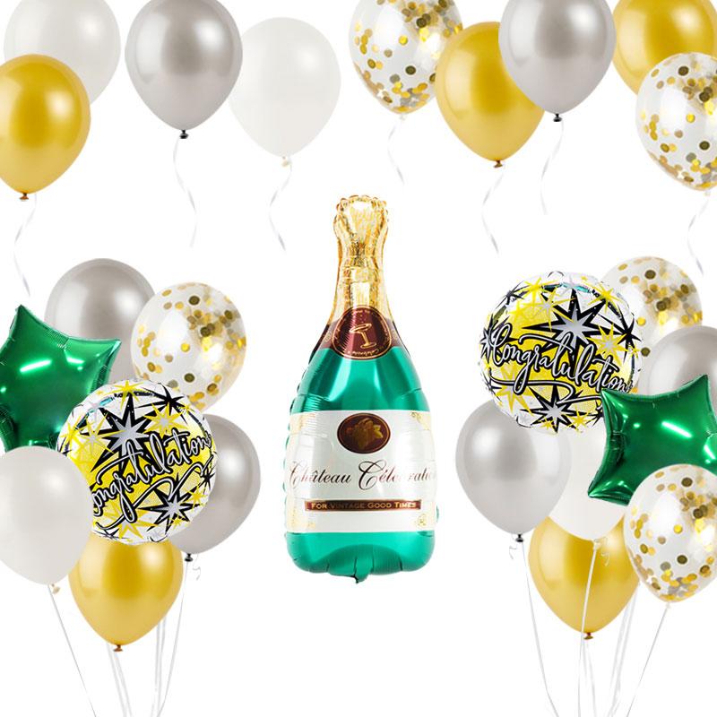 축하파티 샴페인병 풍선장식세트, 스팡클 은박도트골드, 1세트