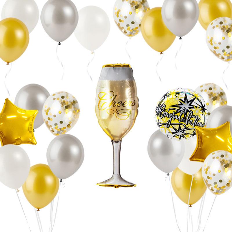 축하파티 샴페인잔 풍선장식세트, 스팡클 은박도트골드, 1세트