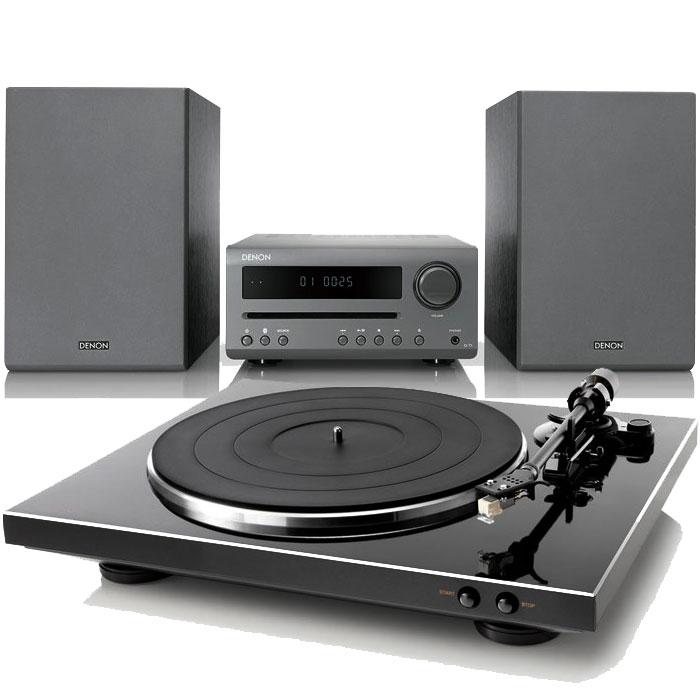 데논 미니오디오 그레이 + 턴테이블 블랙 세트, 오디오(D-T1), 턴테이블(DP-300F)