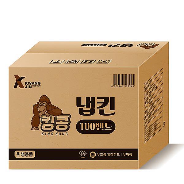 킹콩 천연펄프 냅킨 90p, 100개