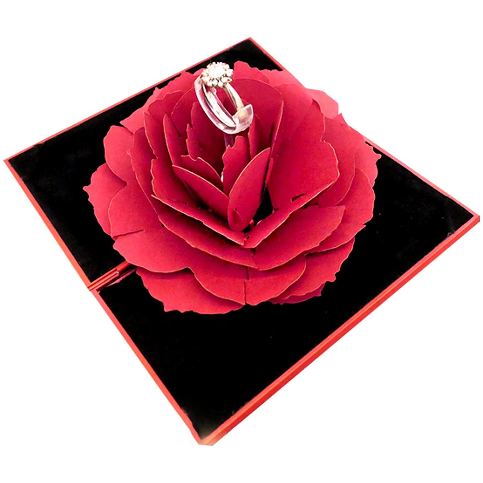 로즈 입체 반지 선물 케이스, 레드, 1개