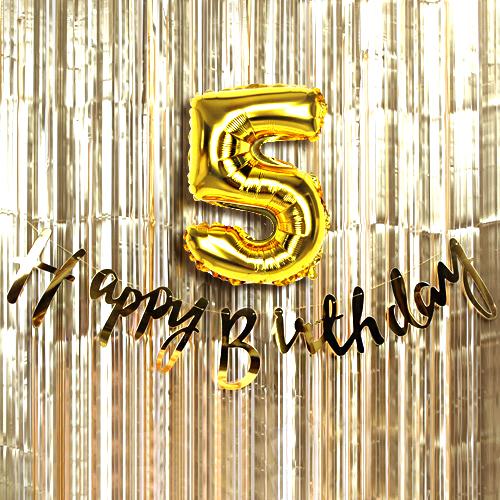 트윙클 생일파티 5 장식세트, 골드, 1세트