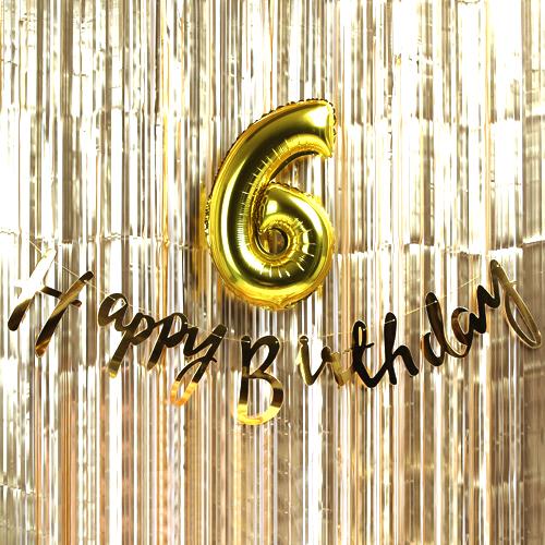트윙클 생일파티 6 장식세트, 골드, 1세트