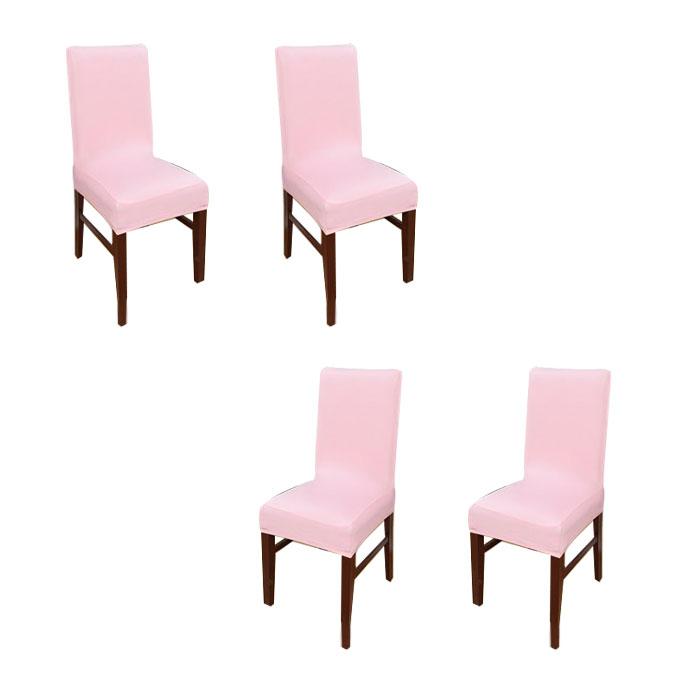 아리코 식탁 의자 커버 4p, 연핑크