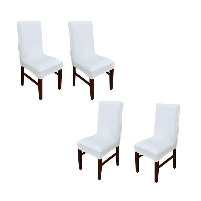 아리코 식탁 의자 커버 4p, 화이트