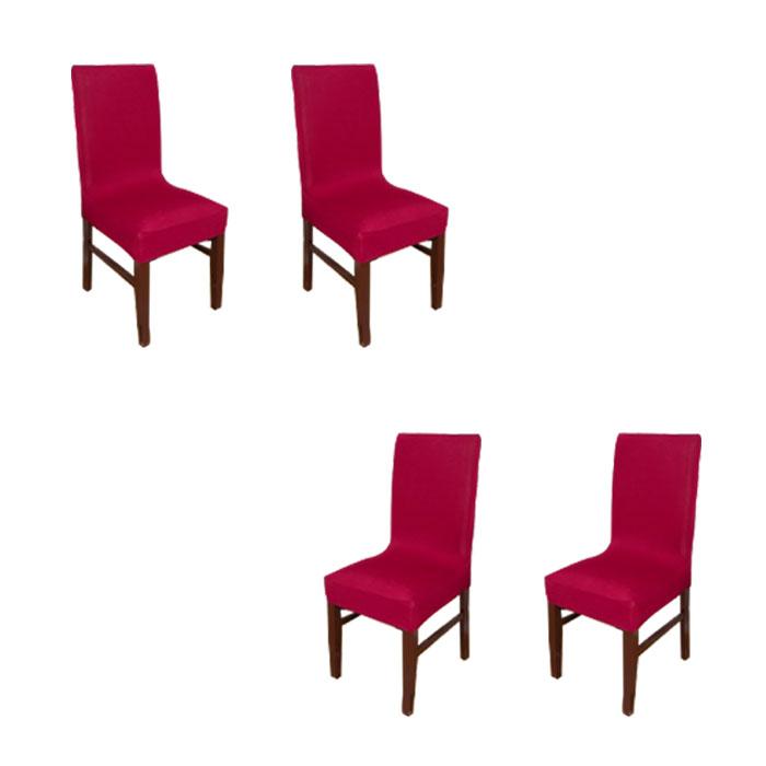 아리코 식탁 의자 커버 4p, 레드