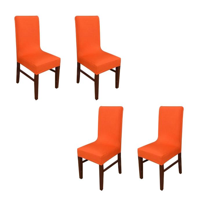 아리코 식탁 의자 커버 4p, 오렌지