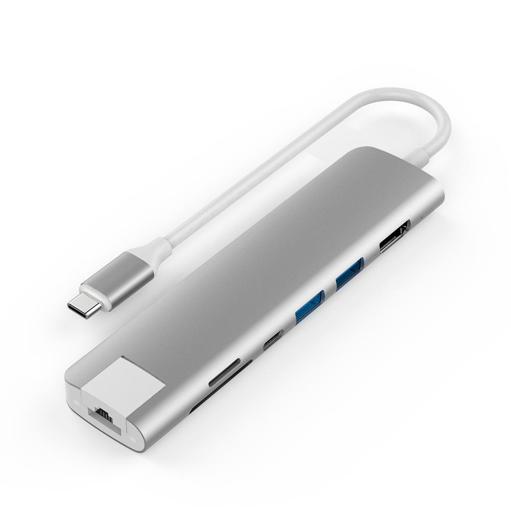 아이논 USB 3.0 C타입 7in1 멀티허브 메모리카드리더기, IN-UH510C, 실버