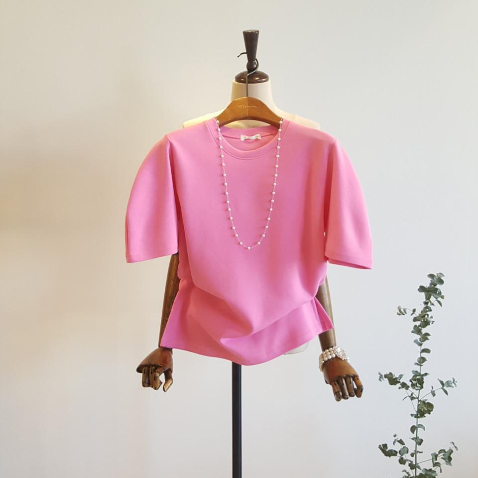 모노타임 여성용 퍼프소매 파워 숄더 반팔 티셔츠