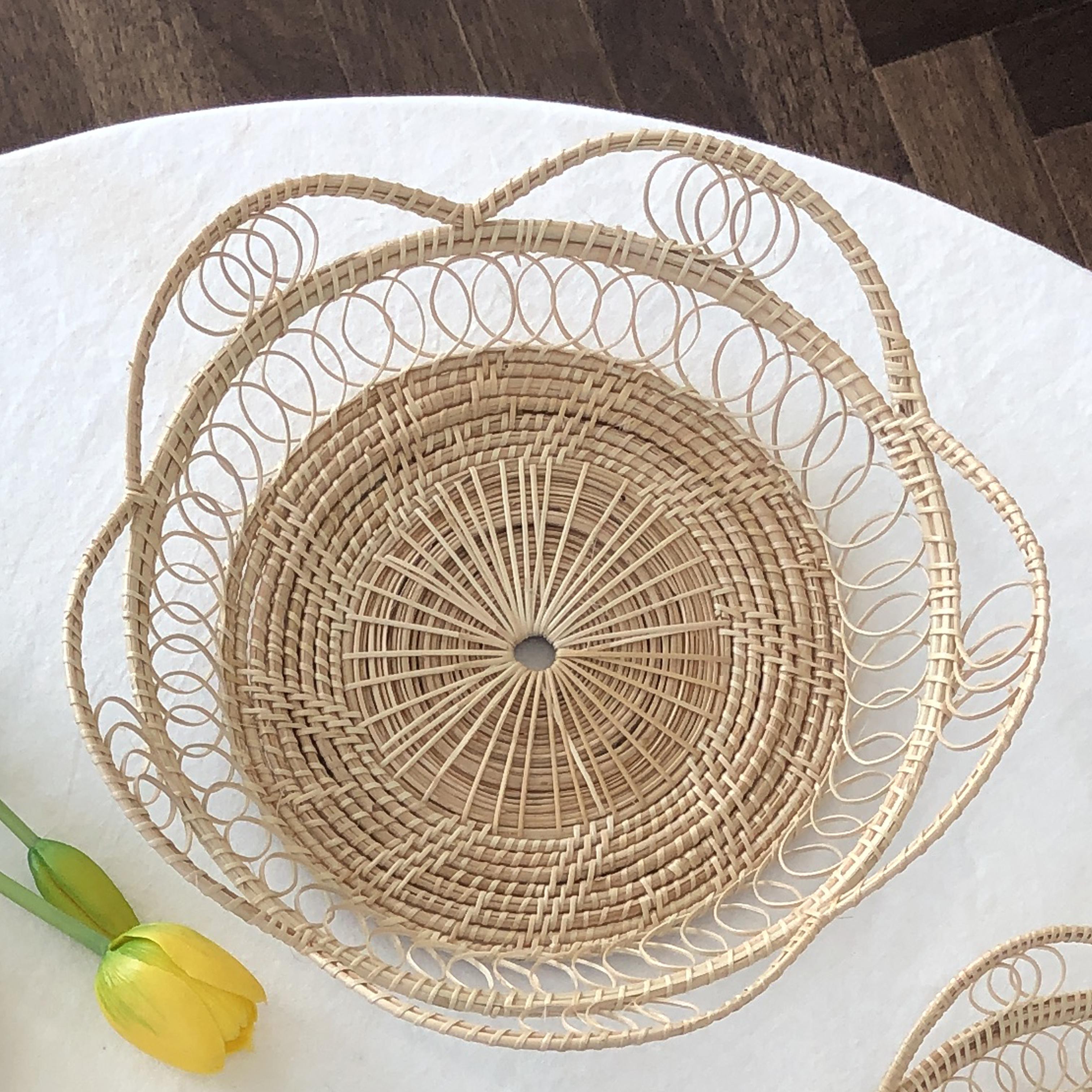 더반리빙 꽃모양 라탄 트레이 접시 바구니 별형, 단일색상, 1개