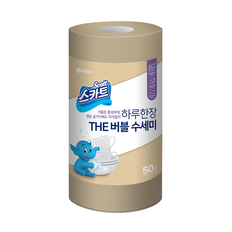 스카트 The 버블 일회용 수세미 50p, 베이지, 1개