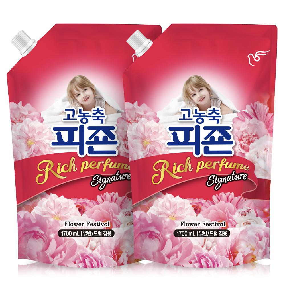 피죤 고농축 리치퍼퓸 시그니처 섬유유연제 플라워페스티벌 리필, 1.7L, 2개