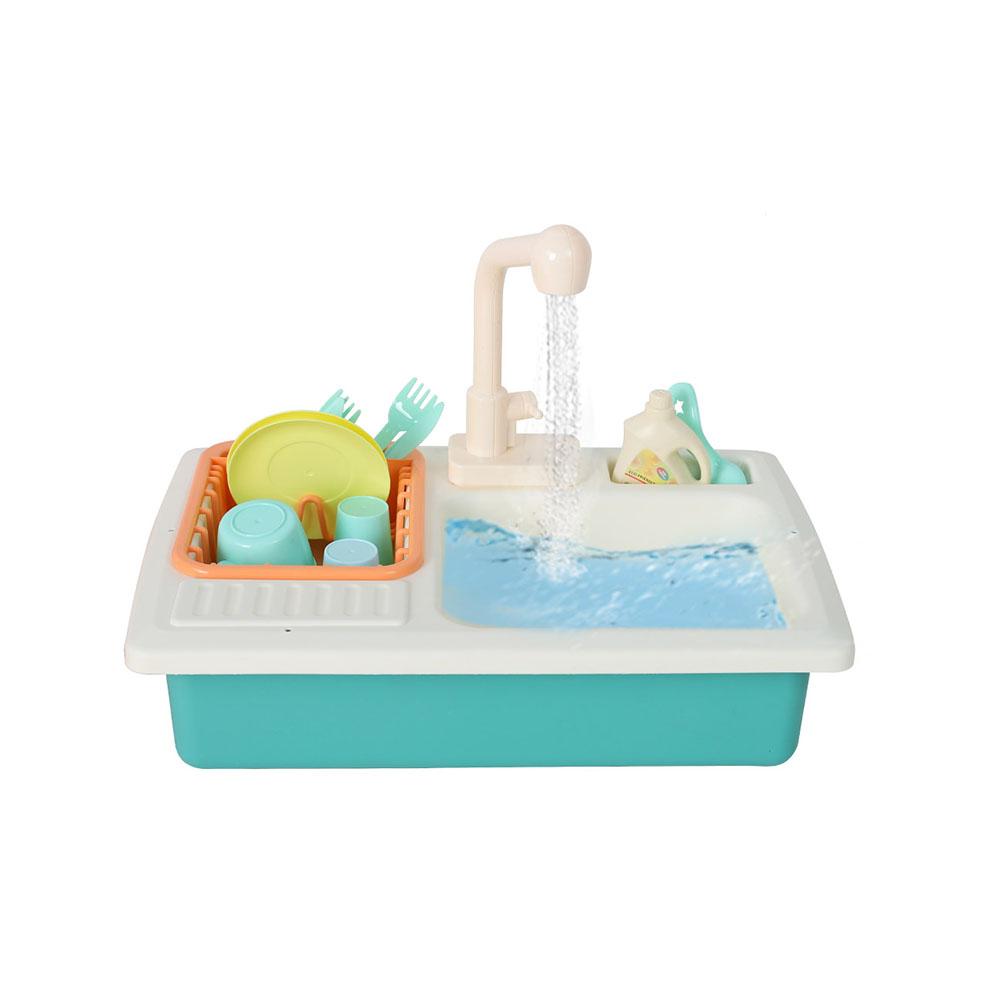 해피플레이 유아 주방 소꿉 놀이 물나오는 자동 싱크대 세트, 블루