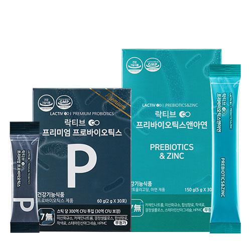 락티브 프리미엄 프로바이오틱스 유산균 2g x 30p + 프리바이오틱스 앤 아연 5g x 30p 세트, 1세트