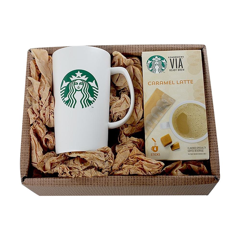 스타벅스 머그컵 커피 선물세트, 비아 캐러멜라떼, 1세트