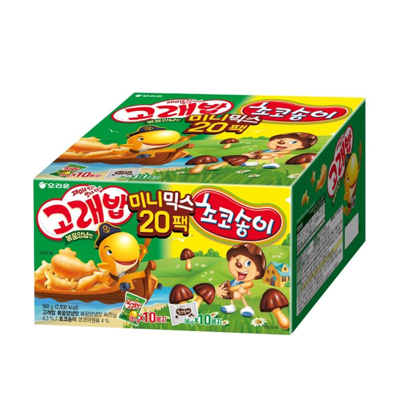 오리온 고래송이 미니믹스 과자세트, 고래밥 볶음양념맛 10p + 초코송이 10p, 1개