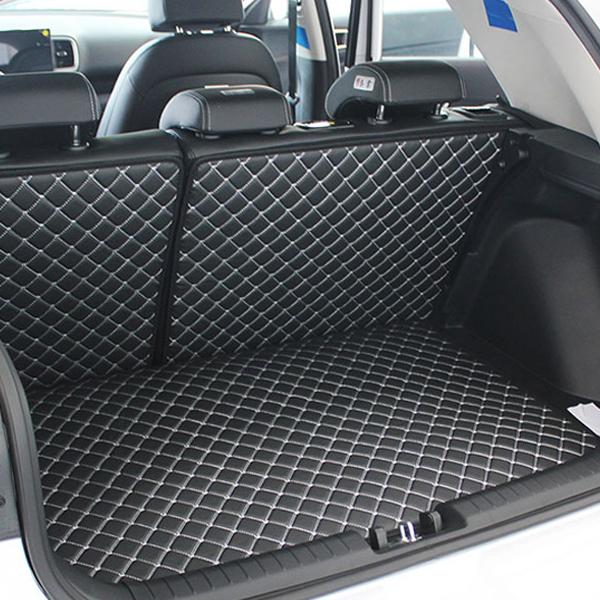 지엠지모터스 VULCANUS 4D 퀼팅 가죽 카매트 트렁크 + 뒷열 커버 세트 블랙, 현대, 베뉴
