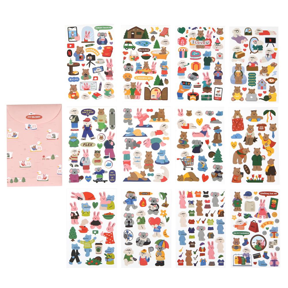데일리라이크 마이 버디 스티커 12종 + 봉투 세트, 혼합색상, 1세트