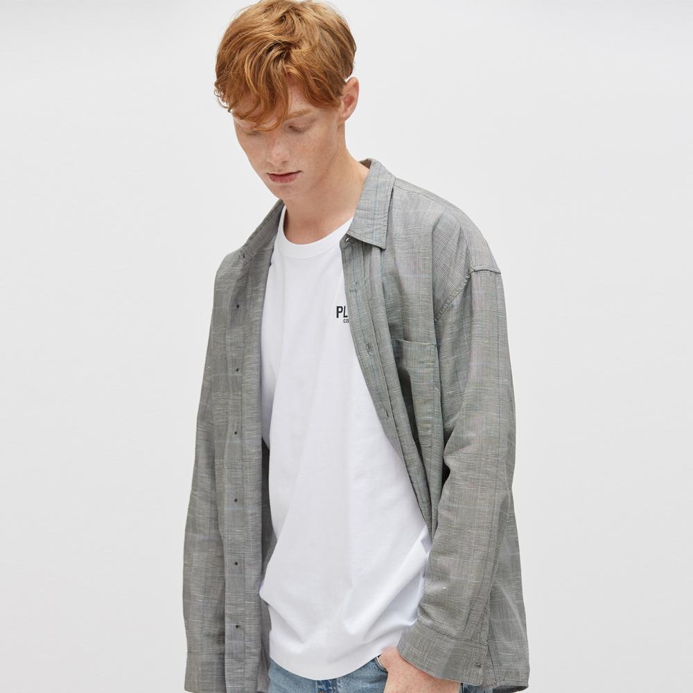 플랙 남성용 오버사이즈 패턴 셔츠
