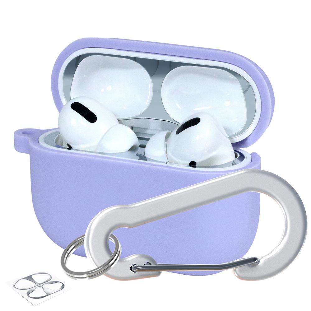 슈퍼디비젼 에어팟프로 실리콘 젤리 키링 케이스 + 철가루 방지 스티커, 단일상품, 페리윙클