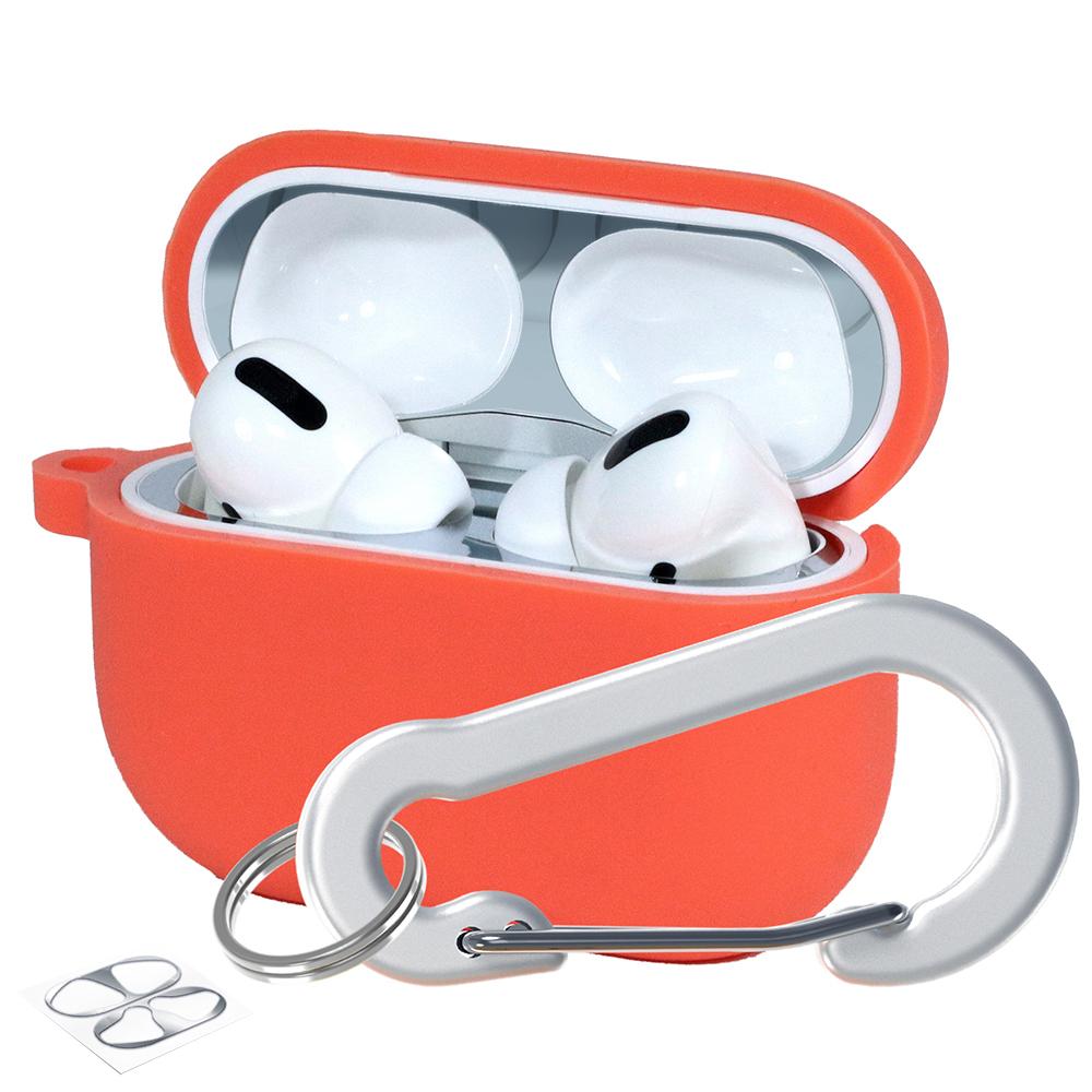 슈퍼디비젼 에어팟프로 실리콘 젤리 키링 케이스 + 철가루 방지 스티커, 단일상품, 버밀리온