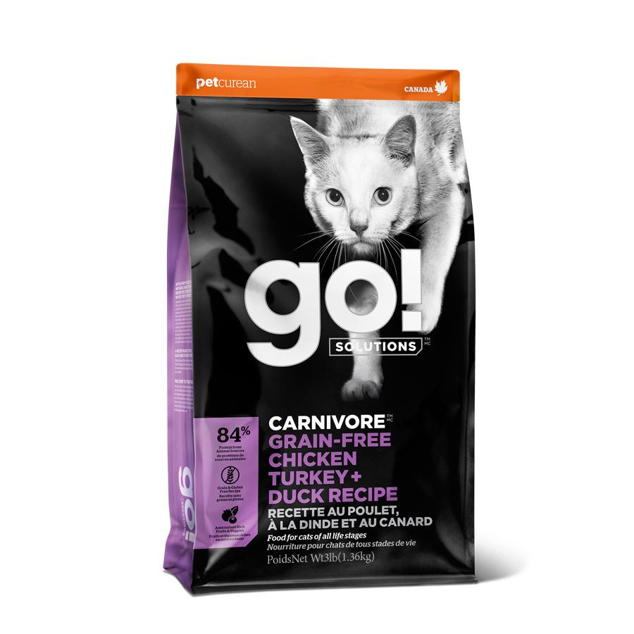 go 전연련용 솔루션 카니보 레시피 고양이 건식 사료, 치킨 + 칠면조 + 오리, 1.36kg