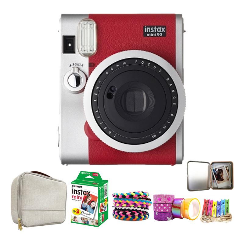 인스탁스 미니90 폴라로이드 즉석 카메라 레드 + 필름 20p + 가방 + 구성품 4종 랜덤발송, instax mini 90, 1세트
