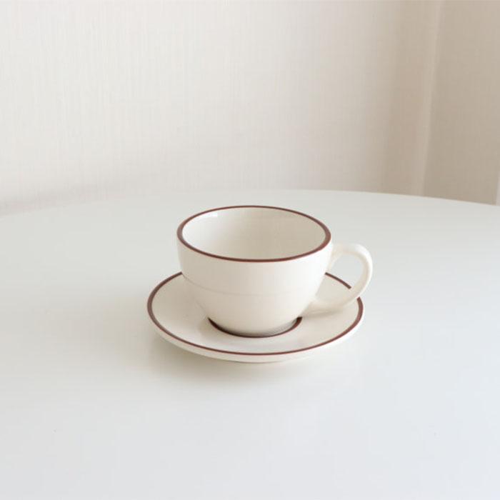 시라쿠스 라인 라떼 커피잔 세트, 브라운, 1세트