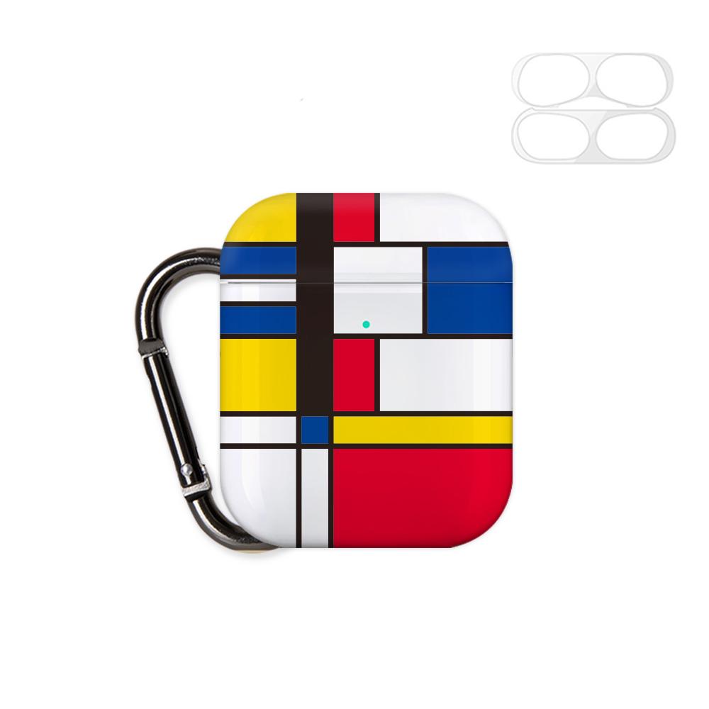 구스페리 디자인 에어팟 1 / 2 세대 케이스 + 철가루 방지 스티커 + 키링, 단일상품, 모던패턴01