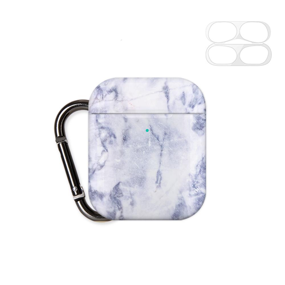 구스페리 디자인 에어팟 1 / 2 세대 케이스 + 철가루 방지 스티커 + 키링, 단일상품, 대리석패턴(블루)