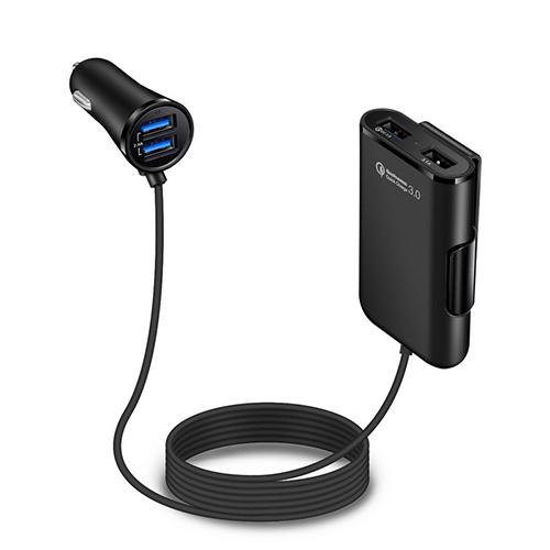 넥스원 차량용 연장형 4포트 USB 시거잭 고속충전기, NX-380, 블랙 (POP 1465390311)