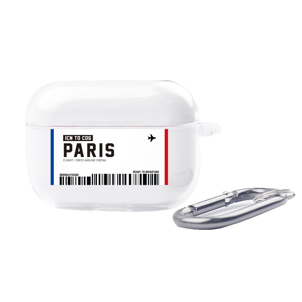 크리츠 에어플레인 티켓 시리즈 에어팟 프로 케이스 + 카라비너, 단일상품, Paris