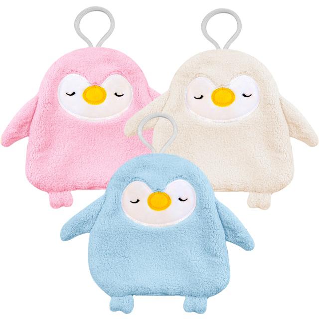 브리사 펭귄 캐릭터 어린이집 고리 수건 33g, 아이보리, 핑크, 블루, 3개