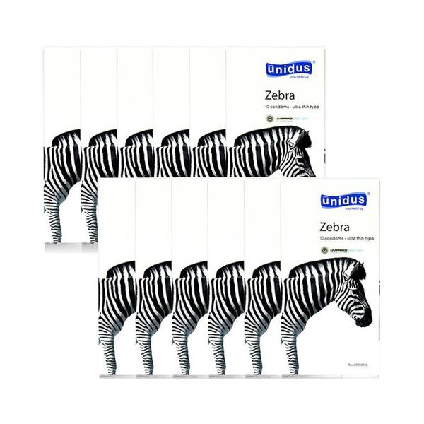 유니더스 지브라 울트라씬 일반형 콘돔, 10개입, 12개