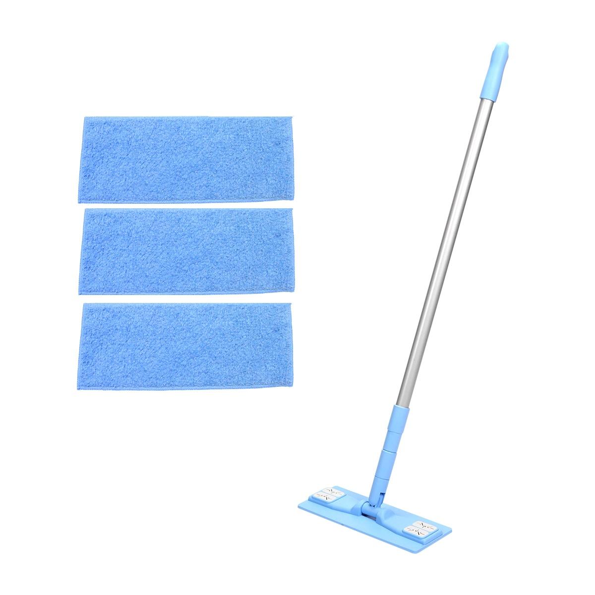 에이클린 밀대 청소기 스카이 소형 25cm + 분섬사 패드 블루 3p 세트, 1세트