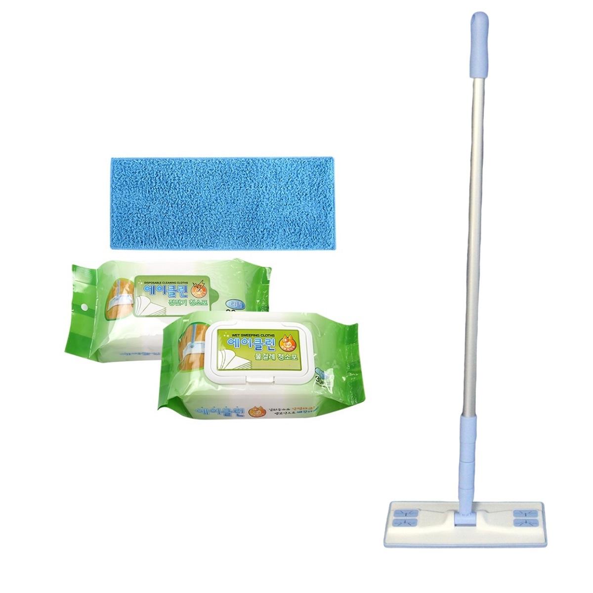 에이클린 핸디 밀대 청소기 화이트 + 스카이 소형 25cm + 분섬사 패드 블루 + 물걸레 청소포 + 정전기 청소포 세트, 1세트