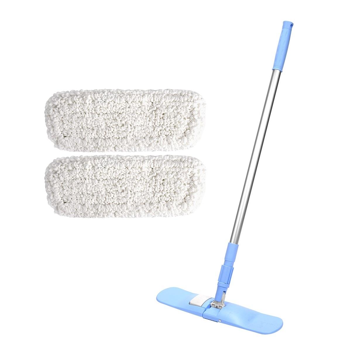 에이클린 접이식 핸디 밀대 청소기 사각형 블루 + 플라워 패드 화이트 2p 세트, 1세트