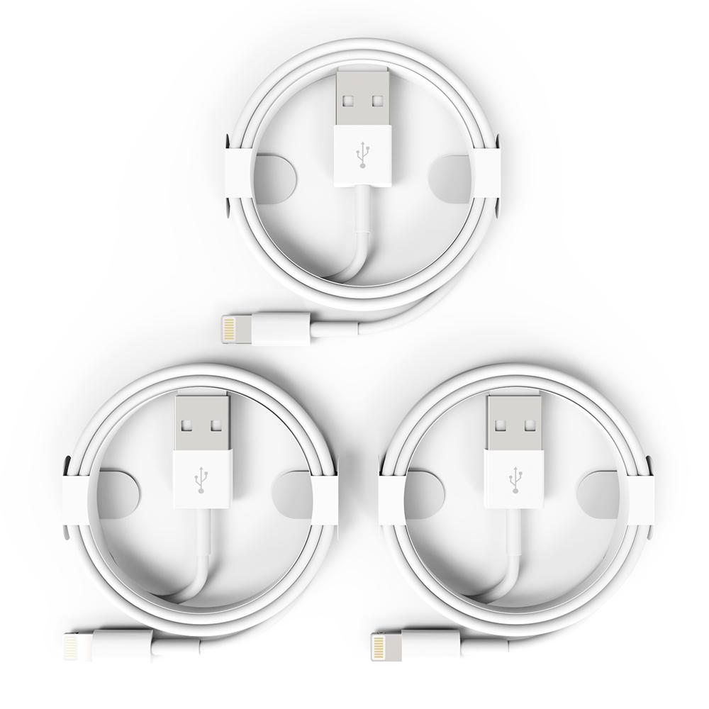 더블디 아이폰 라이트닝 8핀 USB 베이직 고속충전 케이블 1m, 혼합색상, 3개
