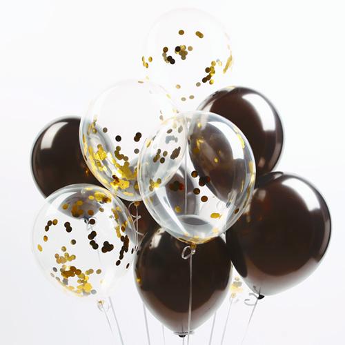 파티해 심플리 컨페티풍선 20p + 손펌프 랜덤발송 +컬링리본 + 스펀지닷 세트, 블랙, 1세트