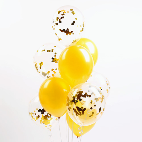 파티해 심플리 컨페티풍선 20p + 손펌프 랜덤발송 +컬링리본 + 스펀지닷 세트, 골드, 1세트