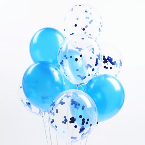 파티해 심플리 컨페티풍선 20p + 손펌프 랜덤발송 +컬링리본 + 스펀지닷 세트, 블루, 1세트