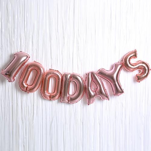 100 DAYS 은박풍선 커튼 세트, 로즈골드, 1세트