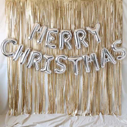 MERRY CHRISTMAS 은박풍선 커튼 세트, 실버, 1세트